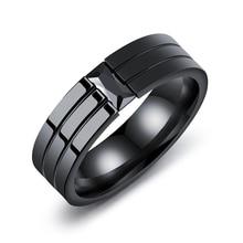 Personality inlaid rhinestone titanium steel men's ring simple black 6mm zircon personality ring clip stone ring jewelry VR592 цена 2017