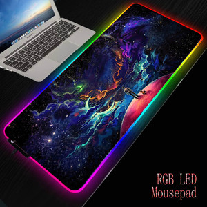 Mairuige Moon Planet Space Stars большой игровой коврик для мыши RGB Светодиодный светящийся геймер клавиатура Коврик для мыши для ПК компьютера ноутбука