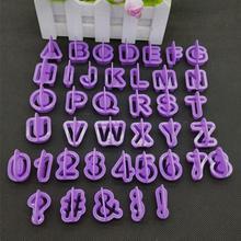 40 шт./компл. фиолетовый Алфавит количество модной детской одежды набор печенья Fondant(сахарная) торт форма для выпечки бисквита форма для выпечки тортов DIY украшения инструменты