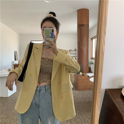 Chic Loose Women Blazer Coat Thin Summer Female Suit Jacket Casual Double-breasted Full Sleeve Outwear Blaser Femme 2020 Vs125
