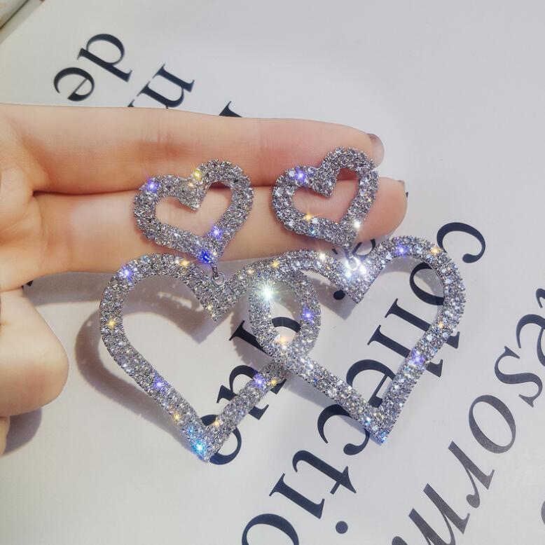 Sell hot Exaggerated fashion crystal double heart earrings contracted joker long Women Drop earrings Jewelry