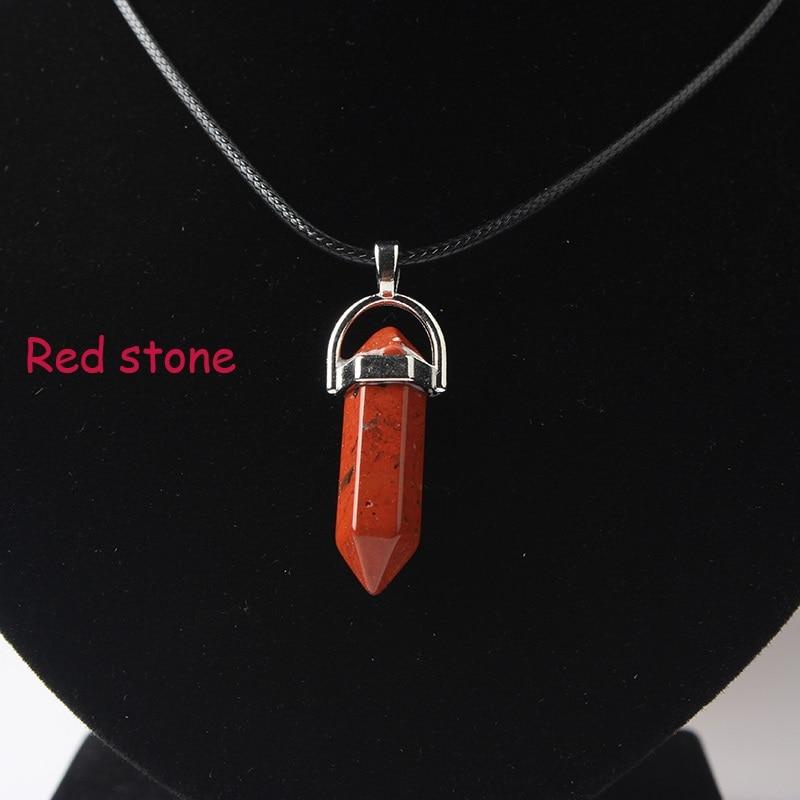LanLi, шестиугольная колонна, ожерелье с натуральным кристаллом, подвеска с камнем, кожаные цепи, ожерелье для женщин, модное ювелирное изделие - Окраска металла: hong shi