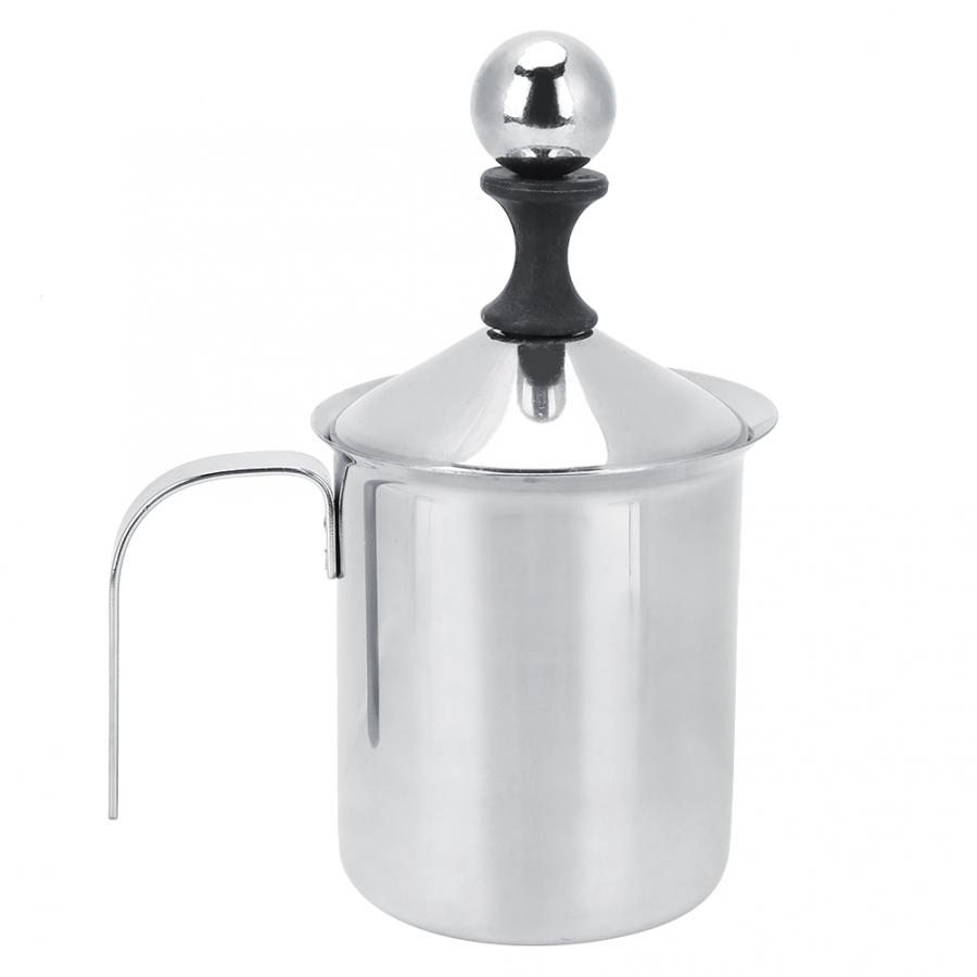 Jarra de leche de leche doble M/áquina de hacer capuchinos con crema batida de acero inoxidable 400ML // 800ML Espumadores de leche de mano de acero inoxidable 400ml