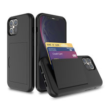 Funda con ranuras para tarjetas para iPhone, protector de tarjetas Color caramelo para iPhone 12Mini 12Pro Max X XR XS MAX SE 2 2020 11Pro 6S 7 8 Plus