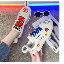 2019 Autumn  Womens Sneakers White Casual Shoes Lovers Printing Fashion Flat Ladies Lace-Up Vulcanized shoes female Yasilaiya