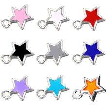 Juya DIY altın/gümüş renk reçine yıldız kolye malzemeleri renkli emaye Charms el yapımı uğurlu takı yapma aksesuarları