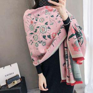 Image 2 - Bufanda cálida para invierno gruesa para mujer, chales de Cachemira, Pashmina con estampado Floral elegante para mujer, pañuelos de Foulard, diseño 2020