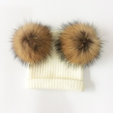 Baby Hat Natural Raccoon Fur Baby Cap Two Pompom Kids Caps Winter Children's Hats With Pompom baby hat faux fur baby cap cotton pompom bobble hat for kids winter boys and girls caps artificial fur children s hats