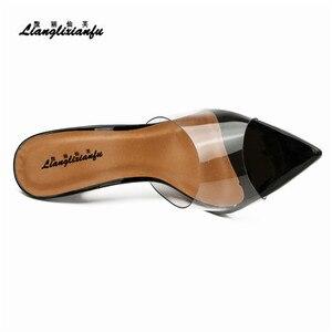 Image 5 - LLXF pantofle zapatos mujer US15 16 17 lato szpilki buty kobieta 13cm cienkie obcasy sandały klasyczne ślubne z lakierowanej skóry pompy