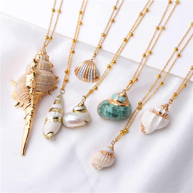beaded shell necklace beach lover jewelry present for her Sea shell necklace