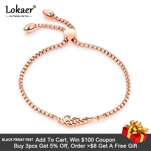 Lokaer Popular Titanium Steel Angel Wings Feather Bracelets Fashion Rose Gold Color Bracelet Length Adjustable Pulseira B17073