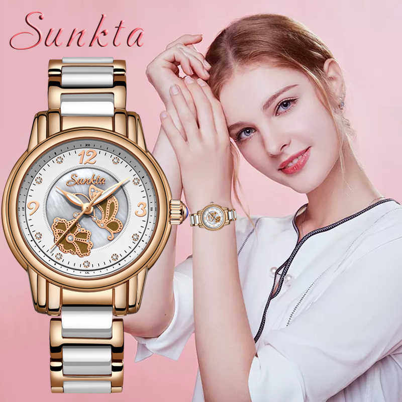 SUNKTA New Listing Rose Gold Women Watches Quartz Watch Ladies Top Brand Luxury Female Watch Waterproof Girl Clock Relogio Femin