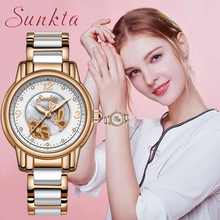 SUNKTA New Listing Rose Gold Women Watches Quartz Watch Ladies Top Brand Luxury Female Watch Waterproof Girl Clock Relogio Femin mige real top brand luxury casual fashion ladies watches white leather rose gold case female clock quartz waterproof women watch
