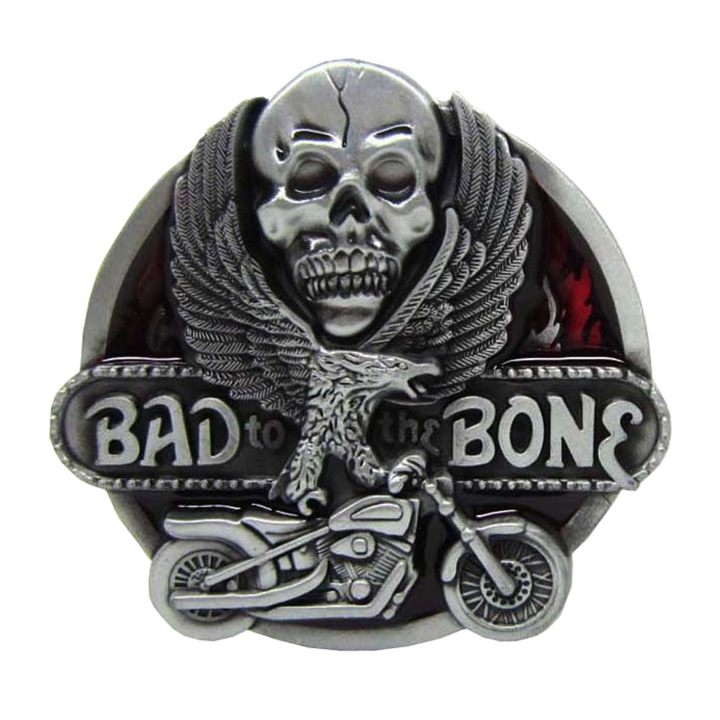 ''Bad To The Bone'' Skull Flying Eagel Motorcycle Metal Belt Buckle Cowboy