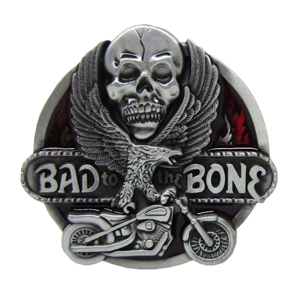 ''Bad To The Bone'' Skull Flying Eagel Motorcycle Metal Belt Buckle Cowboy