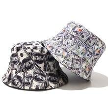 Хлопковая Рыбацкая шляпа с граффити доллар новая складная двухсторонняя