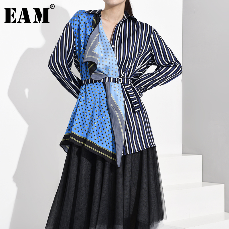 [EAM] Women Blue Striped Asymmetrical Big Size Blouse New Lapel Long Sleeve Loose Fit Shirt Fashion Spring Autumn 2020 WE926