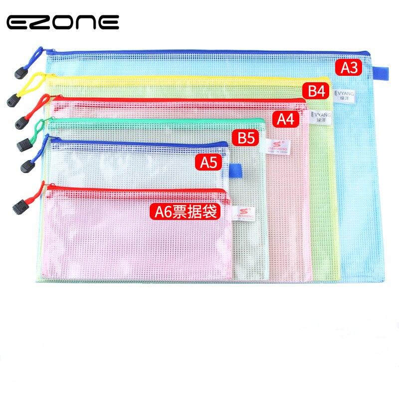 EZONE A3/B4/A4/B5/A5/A6 Pen Bag File Bag Transparent Grid File Pocket Pen Bag Zipper Design Stationery Bag 1PC Color Random