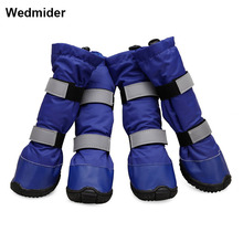 New Waterproof Warm Suede lining Big Dog Shoes Winter Large Pet Outdoor Long dog Boots Non-Slip For dogs 4pcs/set
