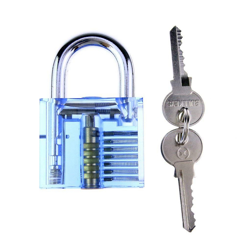 Blue Crystal Professional Visible Cutaway of Padlocks Lock for Locksmith Lock Training Trainer with 2 keys for Beginners