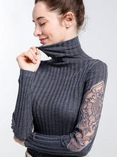 Turleneck Female Thick Lace Patchwork Crochet Sweaters korean Long Sleeve Outwear Clothes winter Autumn Tops Jumper