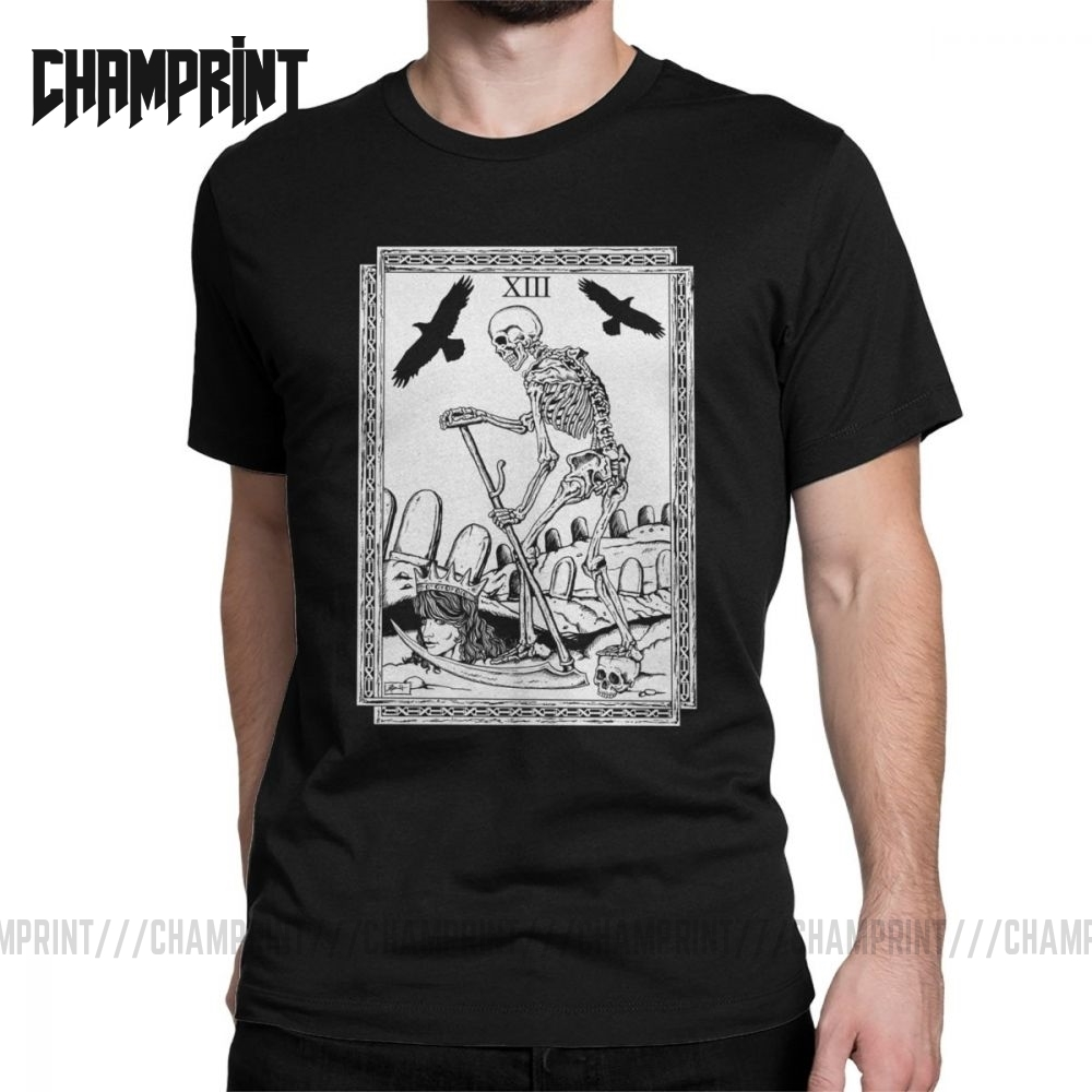 Tarot Card Death Men T Shirts Deck Future Spells Zug Sorcery Medieval Awesome Tee Short Sleeve T-Shirts Cotton Gift Idea Clothes