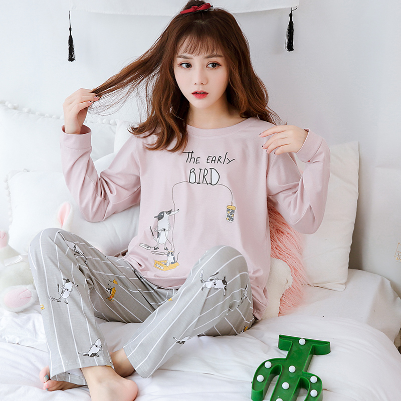 New Arrival Women's Pajamas Cartoon Print 100% Cotton Good Quality Loose Casual Pyjamas For Girls Nice Comfortable Sleepwear
