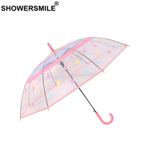 SHOWERSMILE Clear Umbrella Transparent Raindrops Pink Guarda Chuva Cute Long Handle Semi-automatic Rain Women