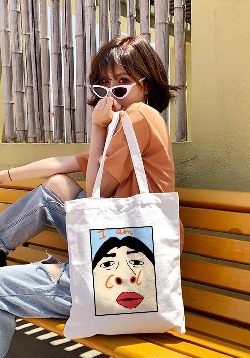 Harajuku I Am Cool Funny Letter Print Canvas Tote Bag Shopping Travel Women Eco Reusable Shoulder Bags Bolsas De Tela