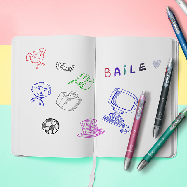 6 In 1 Multicolor Ballpoint Pen Multifunction Pen Contain 5 Color Ball Pen & 1  Automatic Pencil Top Eraser Office School Supply 3
