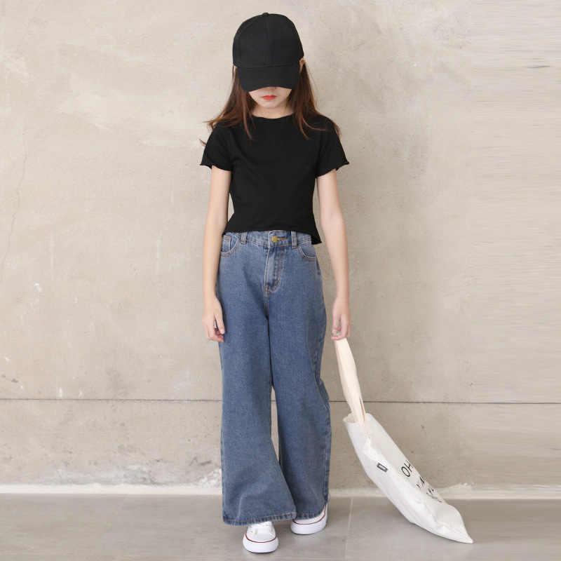 Pantalones Vaqueros Para Ninas Adolescentes Pantalon Ancho Azul Holgado Para Primavera Y Verano 6 8 10 12 Anos 2021 Pantalones Vaqueros Aliexpress