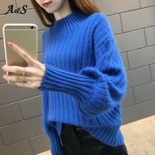 Ladies Autumn Women Turtleneck Long Sleeve Knit Sweater Oversize Pullover Elasticity Womens Sweaters Pull Femme