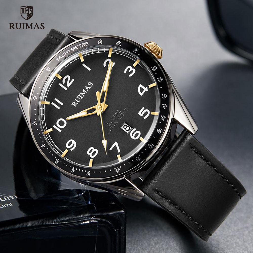 RUIMAS Men Sports Military Quartz Watch Man Top Luxury Brand Analog Date Clock Leather Strap Wristwatch Relogio Masculino 573