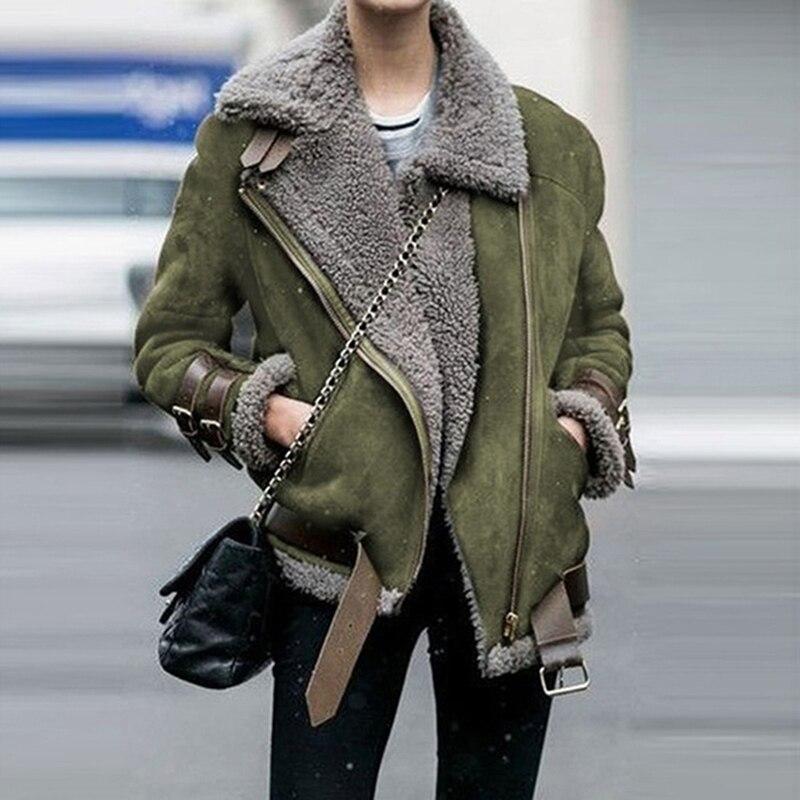 Зимнее женское флисовое пальто из искусственного меха, верхняя одежда, теплое байкерское пальто с отворотом, куртка-Авиатор, Дамское пальто...