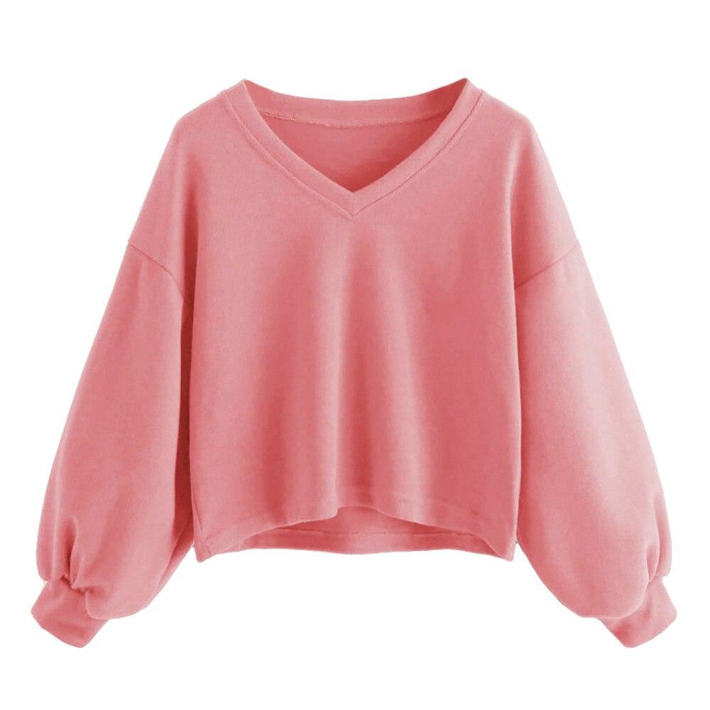 Fashion Autumn Winter Loose V-neck Lantern Sleeves Solid Color Sweatshirt Round Neck Pullover Sweatshirt Casual Women Clothing