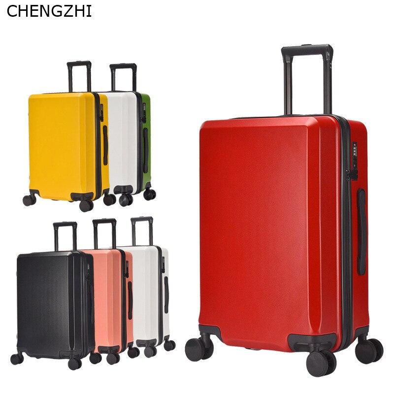 Nouvelle mode 20/24 pouces valise d'embarquement chariot ABS + PC coloré voyage étanche bagages Set valise à roulettes Spinner boîte - 2