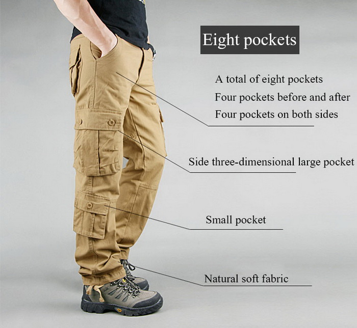 FALIZA Men's Cargo Pants Multi Pockets Military Style Tactical Pants Cotton Men's Outwear Straight Casual Trousers for Men CK102 26