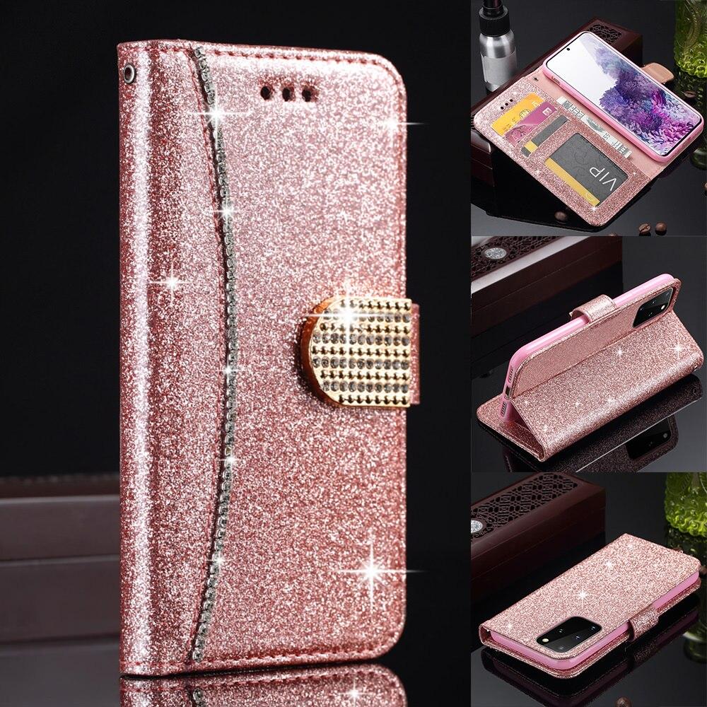 Luxury Female Diamond Bling Leather 360 Case For Samsung Galaxy S20 Ultra S10 Plus S10e S9 S8 S7 Edge A8 A5 A3 Flip Wallet Cover
