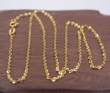 Real Pure 18K Yellow Gold Chain 1.6mmW Women's Link O Necklace 18'L Friend Gift(China)