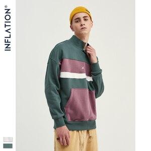 Image 3 - INFLATION Men High collar Sweatshirt Block color Mens Sweatshirt  Pouch Pocket Loose Fit Mens Streetwear Sweatshirt 9645W