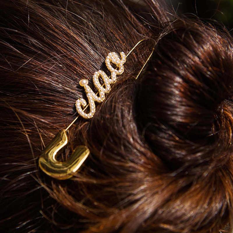 Desain Baru Emas Huruf Pin Penjepit Kertas Drop Anting-Anting untuk Wanita Punk Kristal Berlian Imitasi Panjang Pin Anting-Anting Pesta Perhiasan