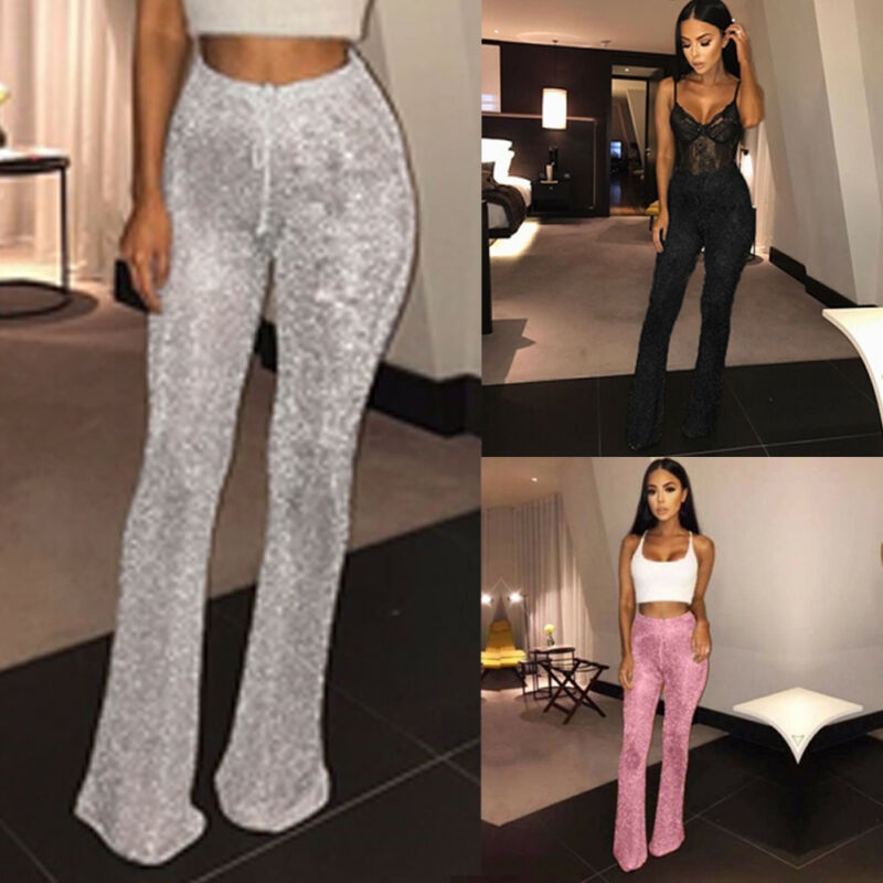 Sexy Silver Glitter High Waist Wide Leg Pants Women Winter Trousers Sexy Casual Flare Pants Festival Club Wear Clothing