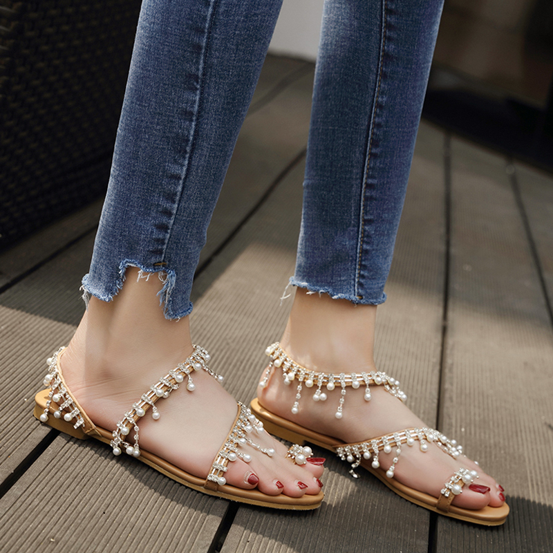 Anance 2020 explosion models simple and fashionable Roman pearl sandals European and American handmade beaded flat sandals women
