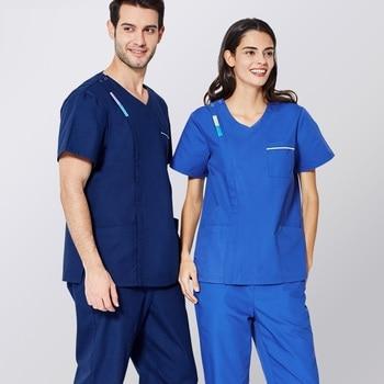 New Women Men Medical Uniforms,Hospital Doctor Scrub Set,Nursing Scrubs,Isolation Surgical uniforme medico hombre manga corta