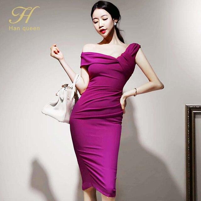 H Han Queen Elegant Slash neck Pencil Dress Women Spring Autumn High Waist Sheath Dresses Korean Slim Chic Party Bodycon Vestido 2