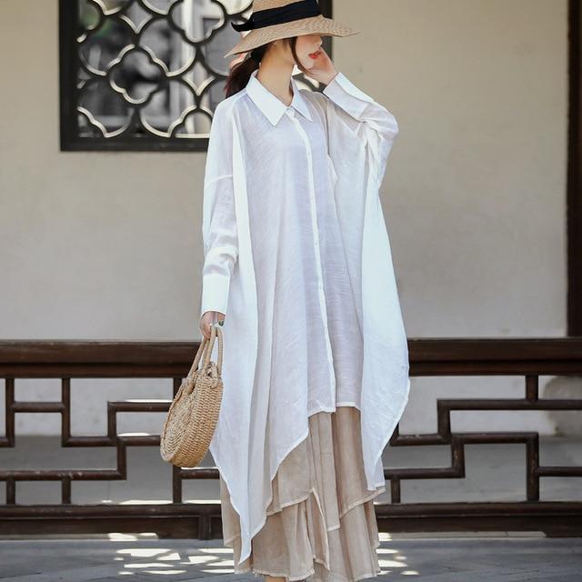 Women Plus Size White Blouse Ladies Irregular Length Oversized Shirt Tops Female 2020 Spring Autumn Big Size Tops 2