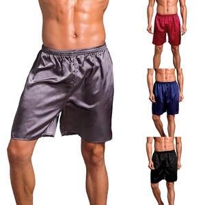 Sleepwear Shorts Pajama Satin Summer Silk Robes Men Fashion Pure-Color