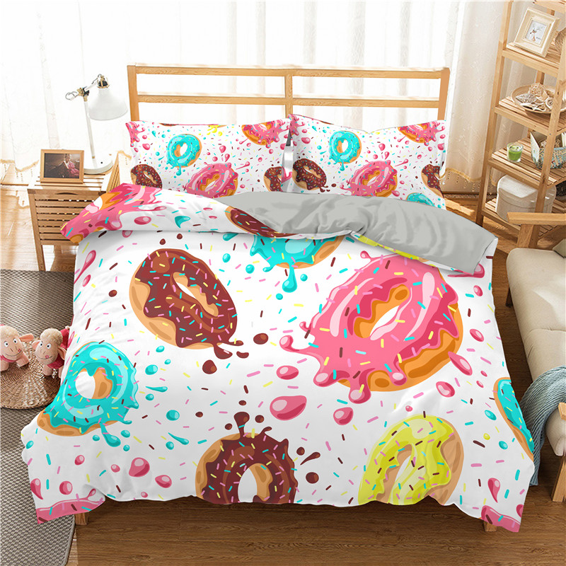 Donuts 3D Bedding Set Bedroom Decor 2/3pc Kids Gift Luxury Home Textiles Single Twin Queen King Duvet Cover And Pillowcase