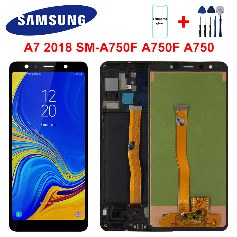 For <font><b>Samsung</b></font> Galaxy A7 2018 Display SM-A750F A750F <font><b>A750</b></font> <font><b>LCD</b></font> With Frame Display Touch Screen Digitizer Replacement Parts <font><b>A750</b></font> <font><b>LCD</b></font> image