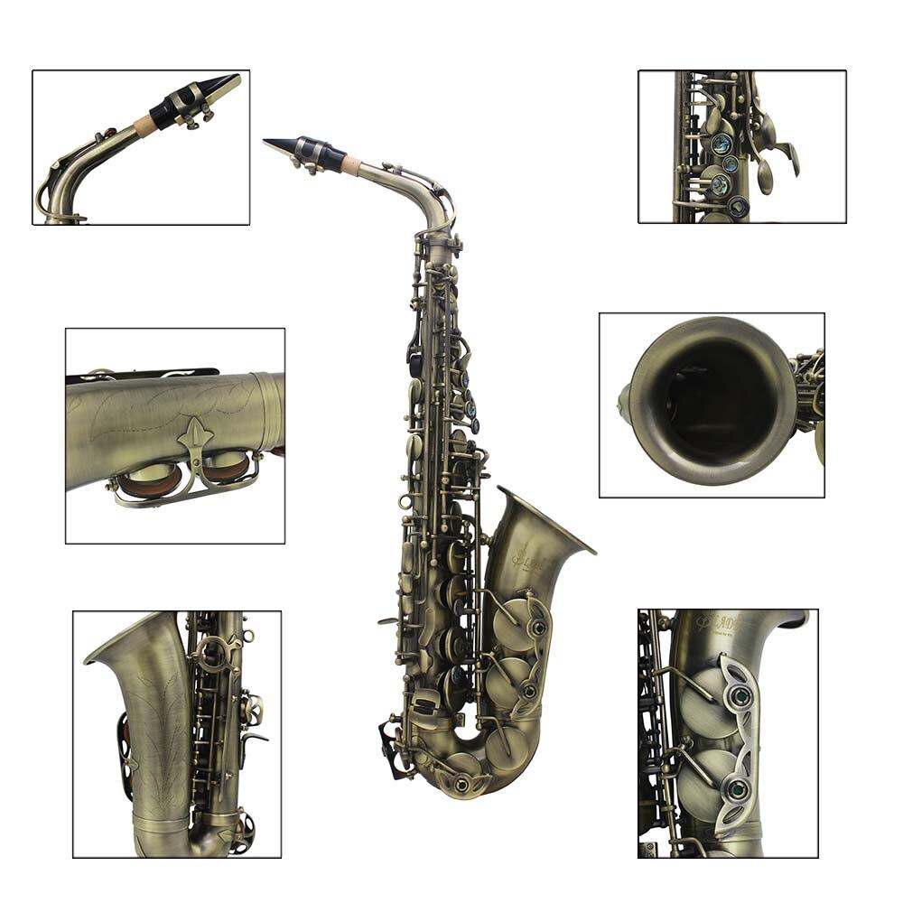 LADE de Alto grado antiguo Eb E flat Alto saxofón abulón cáscara clave tallado patrón con caso guantes correas boquilla - 2